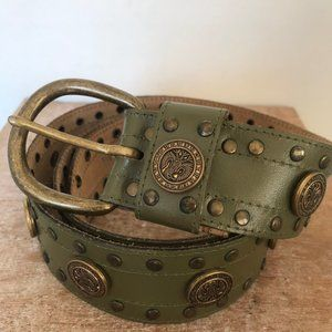 Olive Green Leather Belt with Brads and Buttons
